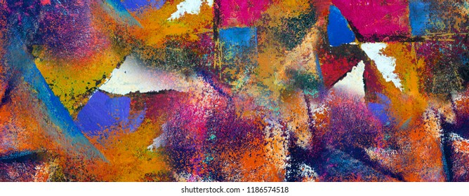 Painting on canvas, Abstract art original oil and acrylic color, Fragment of artwork. Brushstrokes of paint. Modern art. Contemporary art. Colorful texture. thick paint surface, Art background.