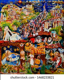 Painting on canvas, In Kiev, Moses talks to Jews at the Pesach celebration. Oil on canvas.