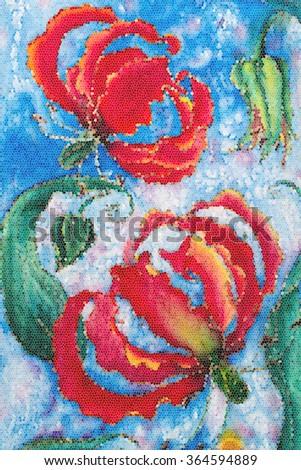 Painting on silk flowers buds gloriosa stock illustration 364594889 painting on silk flowers and buds gloriosa mightylinksfo