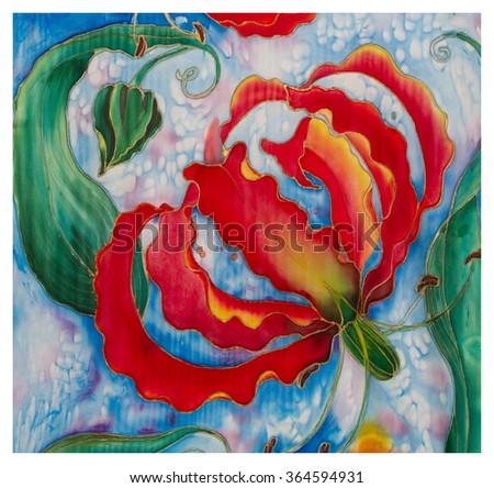 Painting On Silk Flowers Buds Gloriosa Asian Stock Illustration