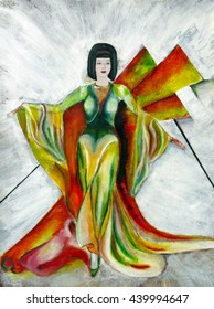Painting original dress design, long evening gown inspired by vintage Hollywood stars , with waistcoat, flowing lines, and decorative fins, background with pyramid shapes, model with bob  hairstyle.