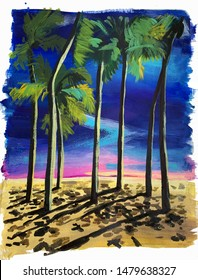 Painting with palm trees. Tropical landscape at sunset. Hand drawing oil, acrylic. Summer print. Date palms. night beach