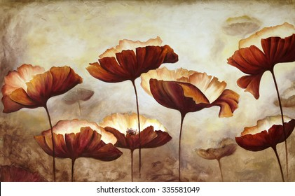 Painting poppies with texture canvas