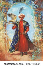Painting portrait of arabian sheikh. Hand drawn man from Middle East with hawk. Acrylic, watercolor illustration