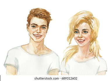 Painting portrait of european girl and boy. Watercolor children or teenager illustration on white background. Hand drawn beautiful blonde sister, brother and friends