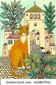 painting of red cat, old town, bird on the tree, drawn by hand