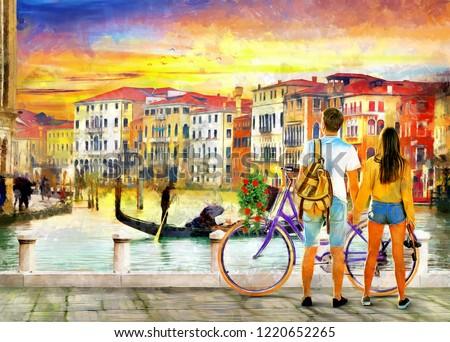 c4b5db3d8fa Painting Romantic Couple Looking Sunset Venice Stock Illustration ...