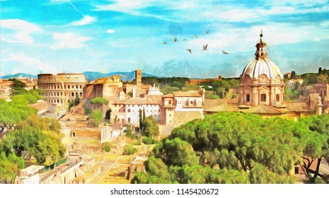 painting of Rome cityscape with view of ruins and colosseum near Altare della Patria, Italy, oil painting, canvas art, city, watercolor paint, buildings, Artwork,
