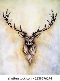 painting of sacred mythological deer spirit with ornaments.