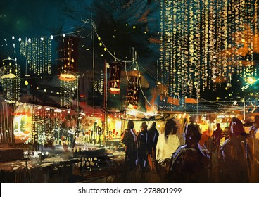 painting of shopping street city with colorful nightlife,illustration