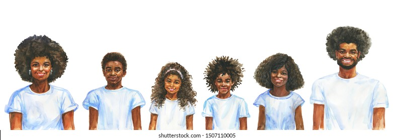 Painting smiling african man, woman and children. Hand drawn realistic family portrait. Watercolor illustration on white background