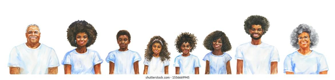 Malerei lächelnde afrikanische Männer, Frauen und Kinder. Ganzes Familienkonzept. Aquarellfarben-realistisches Porträt. Handgezeichnete Illustration auf weißem Hintergrund.