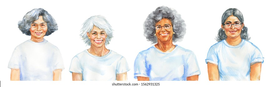 Painting smiling aged women. Hand drawn realistic multiracial portrait. Watercolor isolated illustration on white background