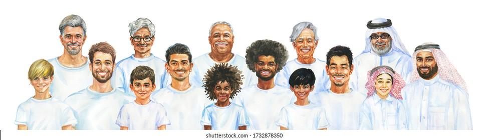 Malend lächelnde Jungs und Männer. Väter, Großväter und Söhne verschiedener Nationalitäten. Handgezeichnetes realistisches männliches Portrait. Aquarellbilder auf weißem Hintergrund.