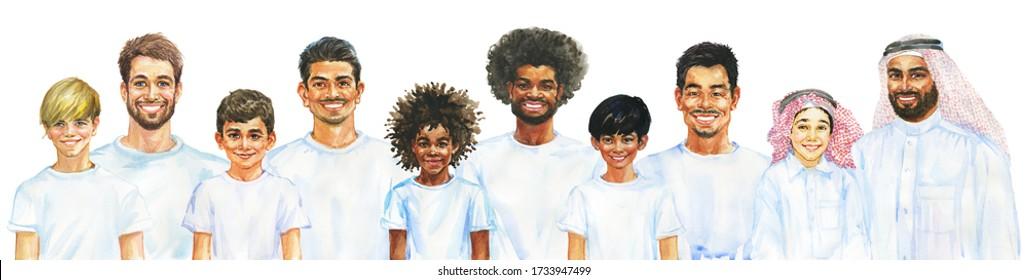 Malend lächelnde Jungs und Männer. Väter und Söhne verschiedener Nationalitäten. Handgezeichnetes realistisches männliches Portrait. Aquarellbilder auf weißem Hintergrund.
