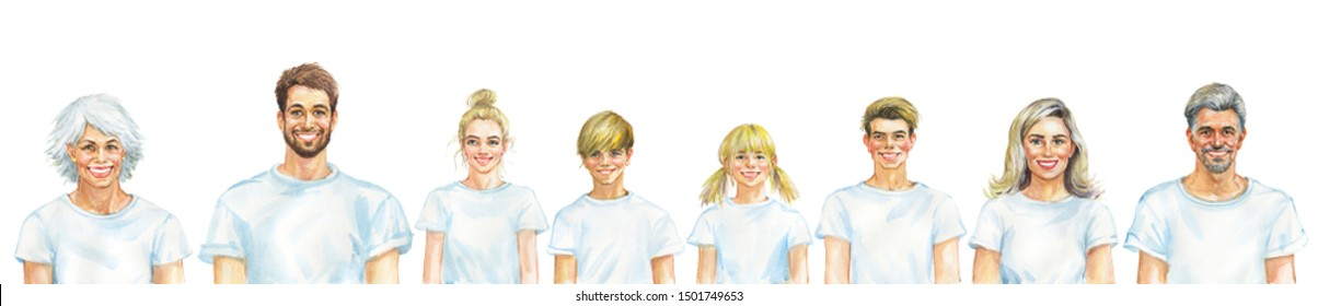 Painting smiling caucasian men, women and children. Whole family concept. Watercolor realistic portrait. Hand drawn illustration on white background.