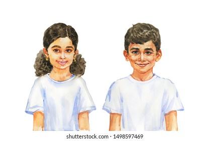 Malerei lächelndes Mädchen und Junge. Handgezeichnetes realistisches Kinderporträt. Aquarell-Illustration auf weißem Hintergrund