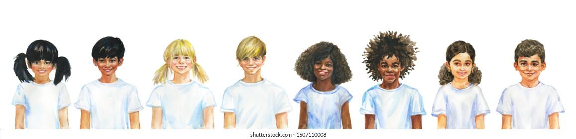 Malerei lächelnden Mädchen und Jungen. Handgezeichnetes internationales Kinderporträt. Aquarellfarbige Illustration auf weißem Hintergrund