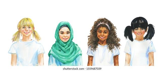 Malend lächelnde Mädchen. Handgezeichnetes internationales Kinderporträt. Aquarellfarbige Illustration auf weißem Hintergrund
