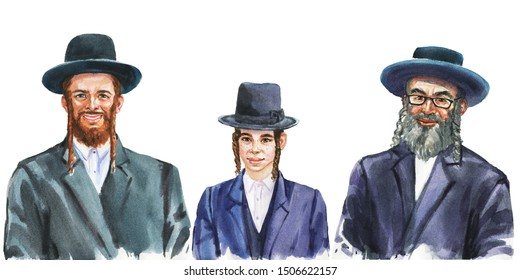 Malerei lächelnden jüdischen Männern und Jungen. Handgezeichnetes realistisches Familienporträt. Aquarell-Illustration auf weißem Hintergrund