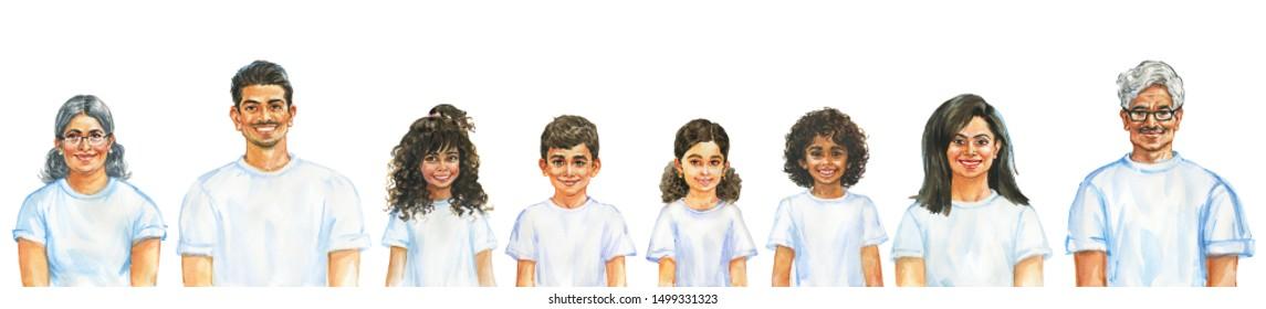 Malerei lächelnden Männern, Frauen und Kindern. Ganzes Familienkonzept. Aquarellfarben-realistisches Porträt. Handgezeichnete Illustration auf weißem Hintergrund.