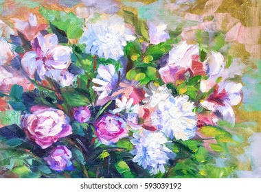 painting still life oil painting texture, rose impressionism art, painted color image, backgrounds and wallpaper, floral pattern on canvas