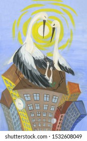 """The painting """"Stork on the roof."""" Gouache. The modern world through the eyes of birds. Stork drawing"""