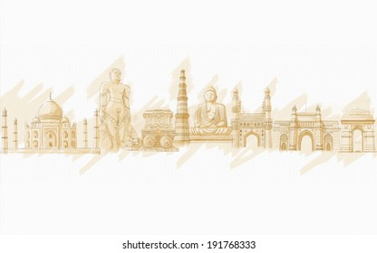 painting style illustration of Indian Monment