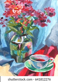 painting texture oil painting still life, a cup of coffee drink and flowers