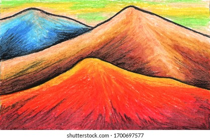 Painting three mountains with different colors using oil pastels