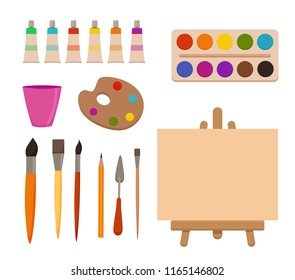 Painting  tools elements cartoon colorful  set. Art supplies: easel with canvas, paint tubes, brushes, pencil, watercolor, palette. Drawing creative materials for workshops designs