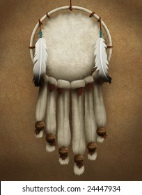 painting of a traditional Native American dream catcher decorated with fur and feathers