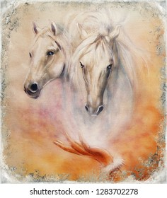 Painting two white horses, vintage abstract background.