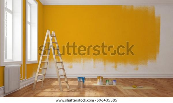 Illustration De Stock De Peindre Le Mur Jaune Dans La 596435585