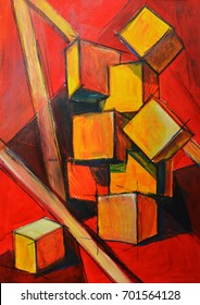 Painting in warm colors. Abstract composition with cubes