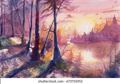 Painting water color forest landscape, watercolor art