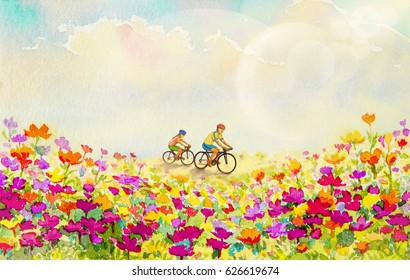 Painting watercolor flowers original pink,red,yellow,orange colors of daisy flowers,and girls, man,cycling exercise morning in the spring, sky with bokeh light on background. Hand painted illustration