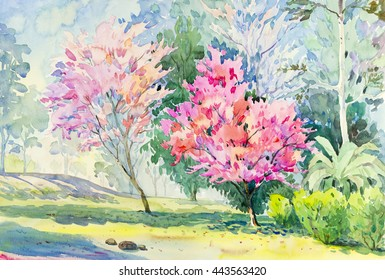 Painting watercolor landscape original colorful of Wild Himalayan Cherry flower tree and emotion in blue with cloud in the sky background