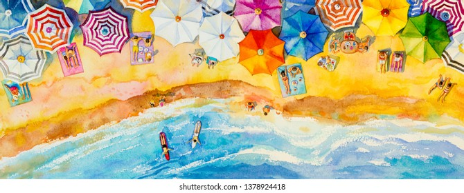 Painting watercolor panorama sea top view colorful of family vacation and tourism in summer multi colored umbrella, sea wave blue background. Hand painted seascape with advertising poster illustration
