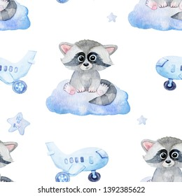 painting with watercolor raccoons, plane and cloudsIdeal for children's posters, patterns