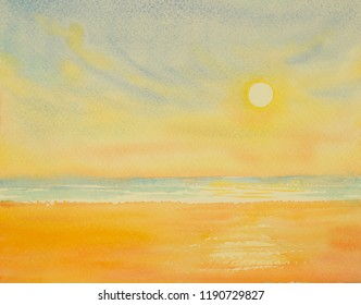Painting watercolor seascape colorful of sun in summery, sea wave blue and sky background. Painted Impressionist image illustration.