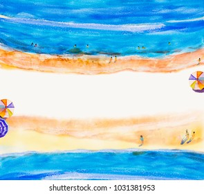 Painting watercolor seascape Top view colorful of family party, swim with summer holiday and tourism in summery,multi colored umbrella,soft color beach background. Hand brush texture illustration.
