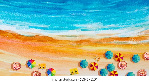 Painting watercolor seascape Top view colorful of lovers, family vacation and tourism in summery, multi colored umbrella, sea wave blue background. Painted Impressionist, abstract image illustration.