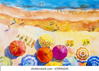 Painting watercolor seascape Top view colorful of lovers, family vacation and tourism in summery,multi colored umbrella, sea wave blue background. Painted Impressionist, abstract image illustration.