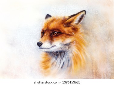 Painting of wild fox on paper. Aquarelle background.