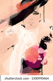 painting woman with digital paint