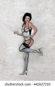 Painting of a woman in stockings and high heel shoes.