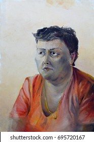 Painting of woman in warm colors
