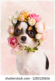 Painting of a young Chihuahua with a wreath of white and pink flowers on a white background