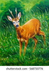 painting of young deer in wild landscape with high grass. Eye contact.